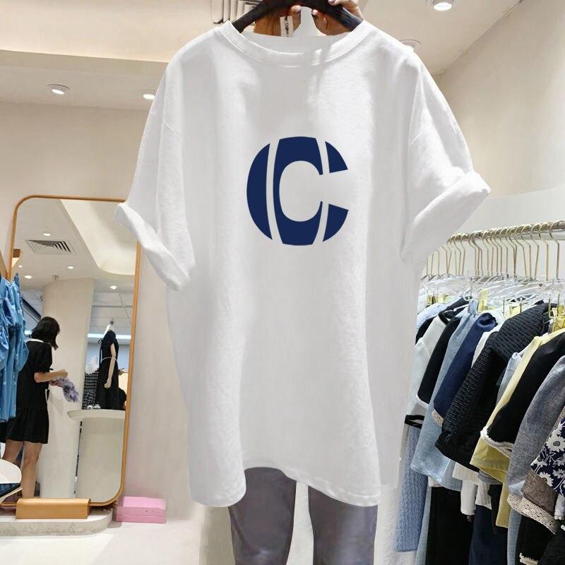 Женская Длинная летняя хлопковая футболка, свободная большая женская куртка с буквенным принтом, новинка 2021
