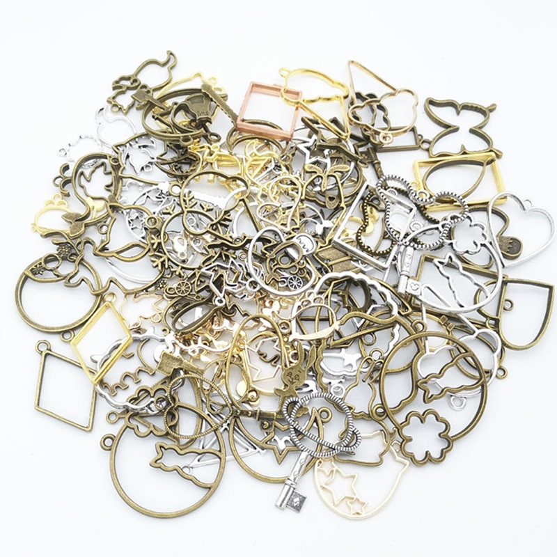 aliexpress.com - 50g 100g DIY Mixed Charms Pendants Frame UV Epoxy Resin Mold Metal Geometric Frame Accessories for Jewelry Making Components