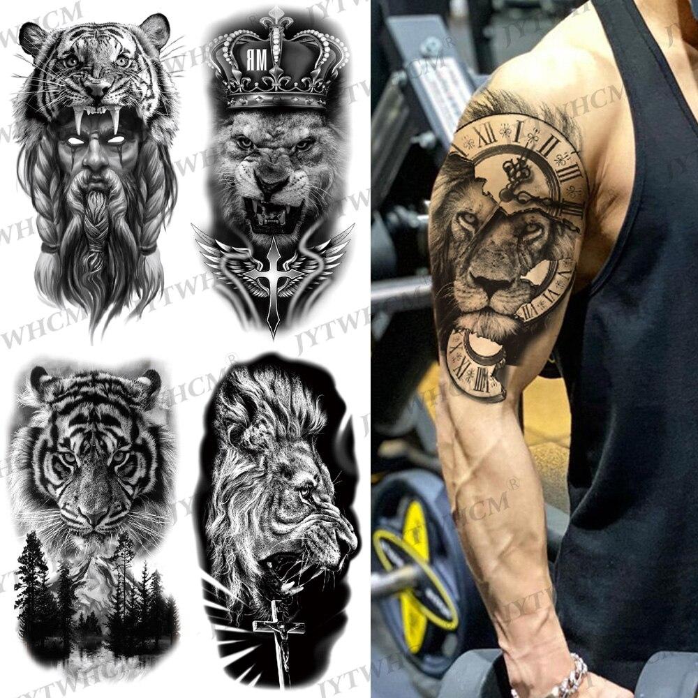 Wolf Owl Tattoo Sticker Evil Skull Devil Black Large Temporary Tattoo Sleeve For Men Women Fake Art Tribal Totem Non-toxic Tatto