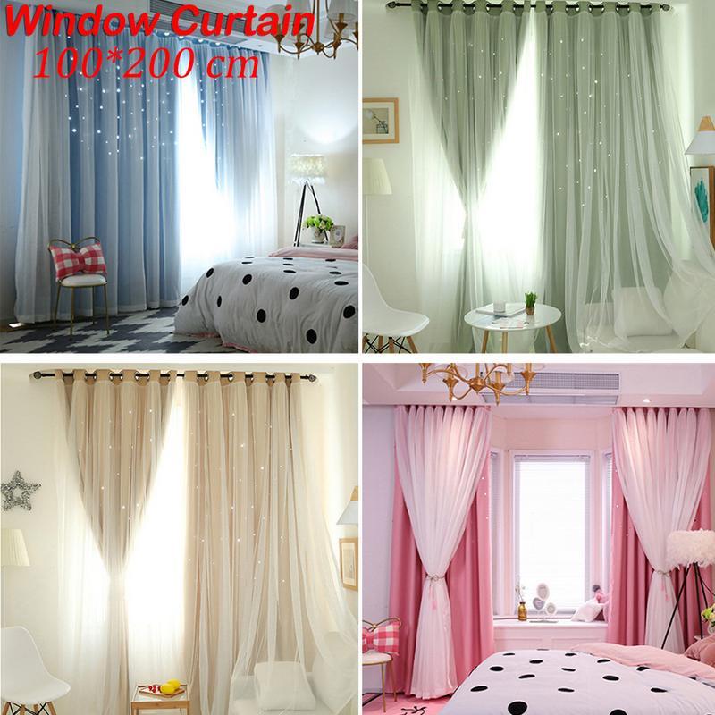 Cortina de sombra de aislamiento térmico de estrella hueca de doble capa, adecuada para sala de estar, dormitorio