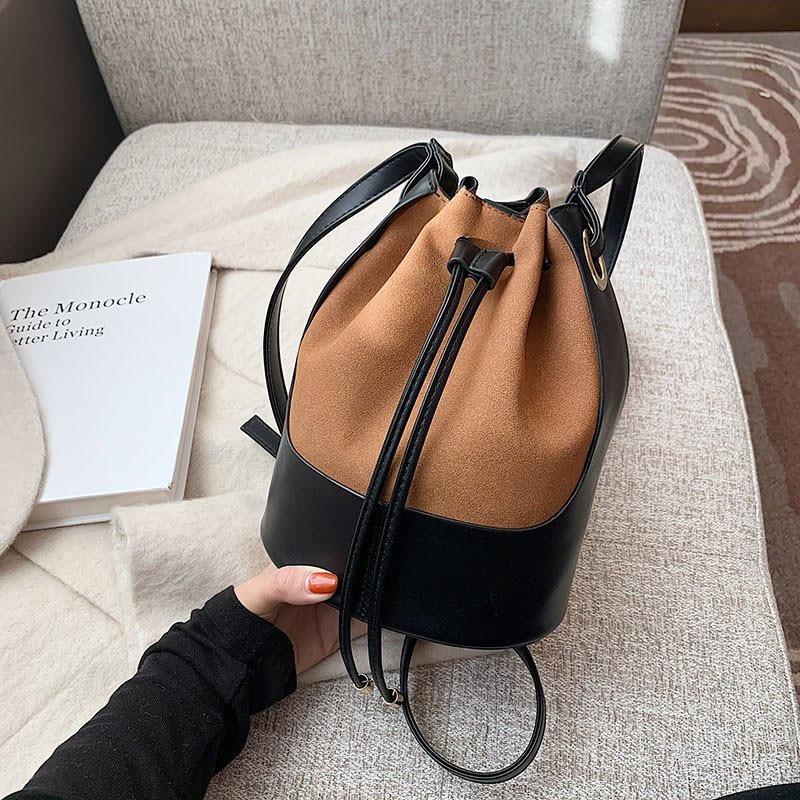 2021 New Women Small Pacthwork Bucket Bag Female Handbags Ladies Crossbody Shoulder Bag Casual Drawstring Bag Whole Sale FTB346