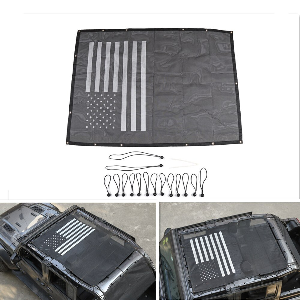 Bikini de malla para techo de coche de 4 puertas, cubierta para sombrilla, malla UV para sombrilla para Jeep Wrangler JL 2018 2019, accesorios de estilo para coche