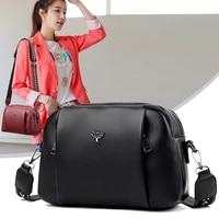 multi pocket womens shoulder bag high quality pu leather handbag wide strap tree messenger bags broadband female crossbody bag