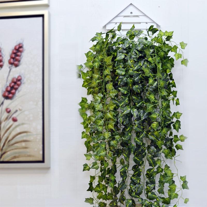 230cm Artificial Ivy Leaf Garland Green Plants Vine Foliage Flowers For Balcony Loft Home Wall Hanging Decor DIY Rattan Wreath