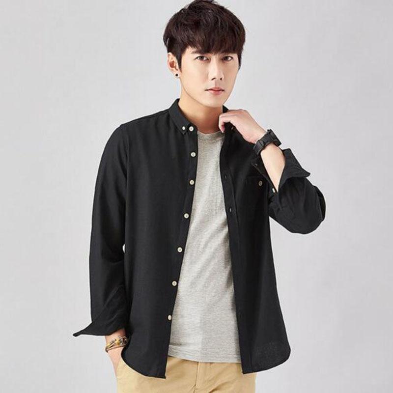 Camisa de manga larga con cuello vuelto para hombre sólido Color caramelo puro algodón Oxford estilo Punk camisas de tela