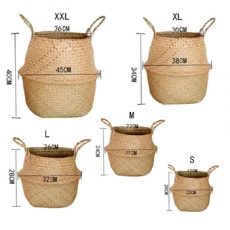 Seagrass Wickerwork Basket Rattan Hanging Flower Pot Dirty Laundry Hamper Storage Basket Dropshippin