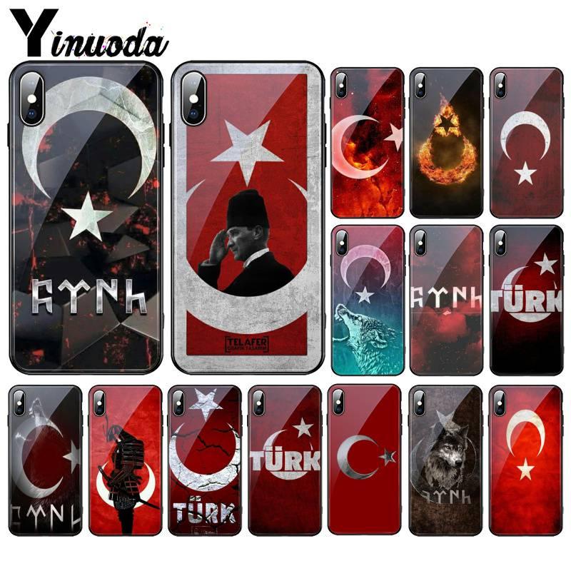 Yinuoda Turkey Flag Istanbul Antalya Mustafa Galatasaray Wolf glass PhoneCase For iPhoneXR XSMAX X 7 8 6SPlus 11 11Pro 11Pro max