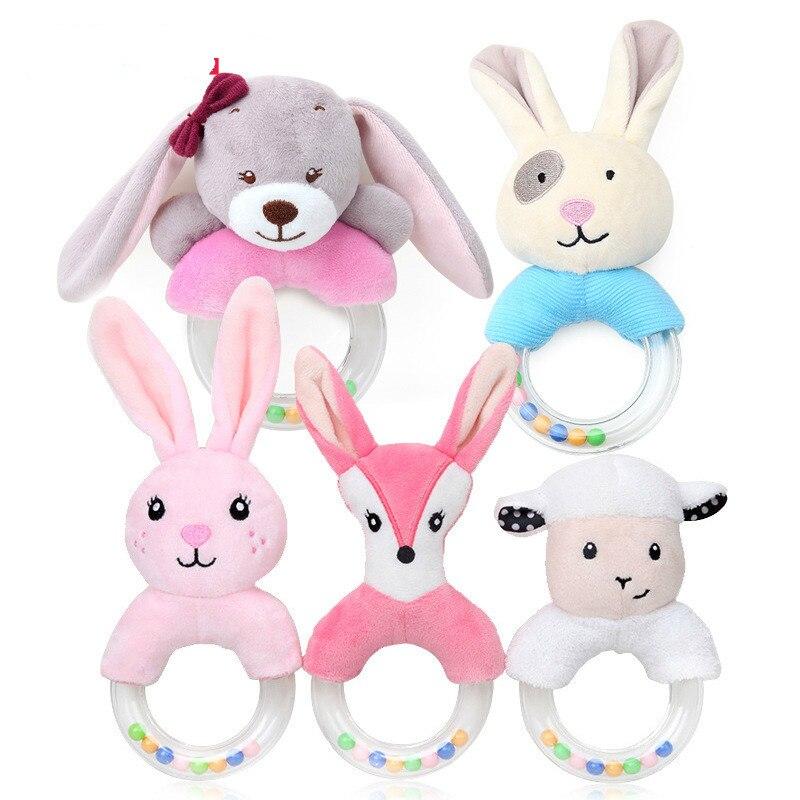 Погремушки игрушки милые детские погремушки игрушки-кролики плюшевые детские Мультяшные игрушки для кровати для малышей 0-12 месяцев Развив...
