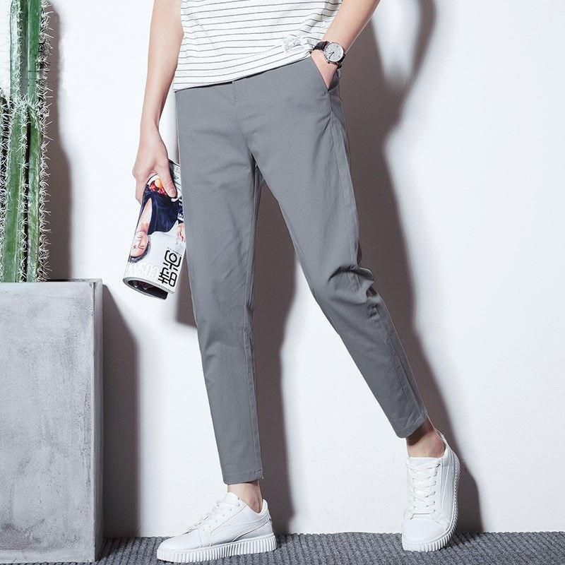 Мужские укороченные брюки с маленькой стопой, свободные прямые Осенние повседневные брюки, мужские облегающие брюки в Корейском стиле на о...