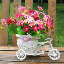 New 2020 Bicycle Decorative Flower Basket Newest Plastic White Tricycle Bike Design Flower Basket Storage Party Decoration Pots