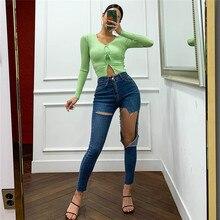 2020 koreanische version von die hohe taille schlank jeans frauen dunkelblau große loch heben hüften eng dünne dünne füße neun hosen