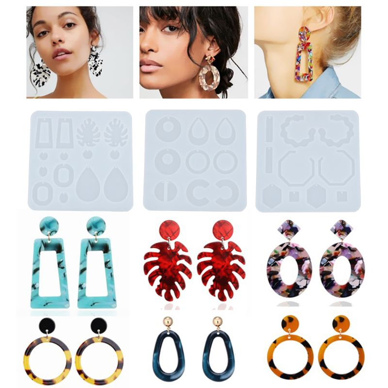 Crystal Epoxy Resin  UV Glue Mold Silicone Earring Pendant Casting Silicone Mould Creative DIY Molds Crafts Jewelry Making Tools demixing pendant resin mold silicone mold casting molds epoxy uv jewelry making moulds jewelry making jewelry tools