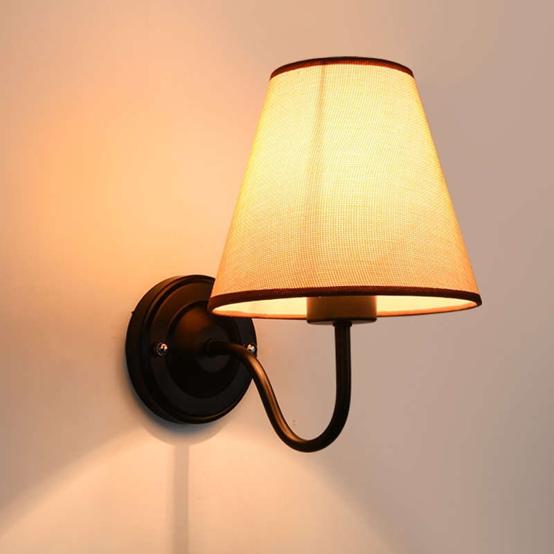 American Bedroom Bedside Wall Lamp Modern Simple Creative Living Room Study Lamp Balcony Aisle Fabric LED Wall Lamp