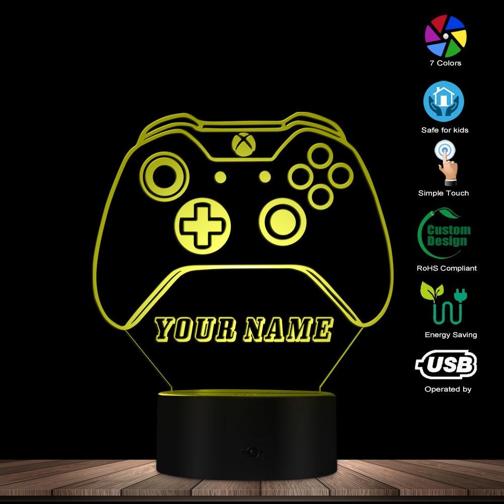 أذرع التحكم في ألعاب الفيديو ليلة ضوء شخصية مجانية Cusom اسم LED ليلة مصباح 7 تغيير لون التحكم باللمس محفورة هدية للاعبين
