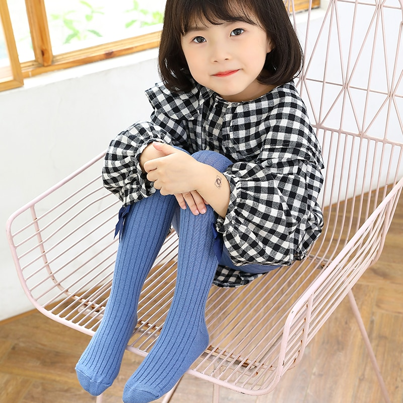 2020 Baby Autumn Winter Tights bow-knot Stockings Cotton Warm Pantyhose Solid Candy Color Tight 1-12Years