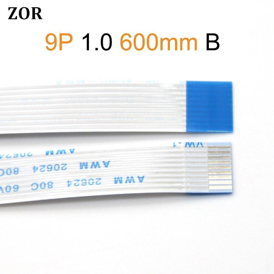 2 stücke typ-B FFC FPC flache flexible kabel 1,0mm pitch 9 pin 9PIN Reverse Länge 600mm 60cm Band Flex Kabel