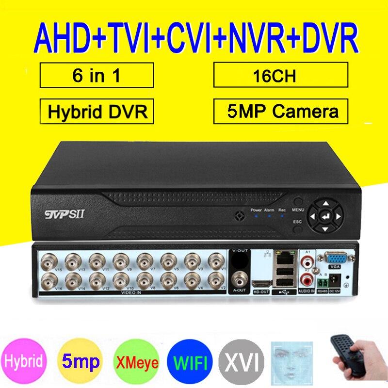 XMeye Hi3531D H265 + 5 mp 16CH 16 canaux   Détection faciale, WIFI hybride 6 en 1 TVi CVI NVR AHD CCTV DVR Surveillance vidéo