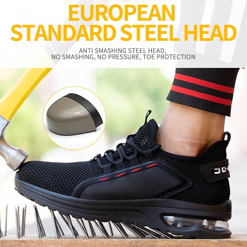 أحذية أمان رجالية مكافحة تحطيم مكافحة ثقب أحذية أمان أحذية عمل تنفس خفيفة الوزن غطاء صلب لأصبع القدم واقية