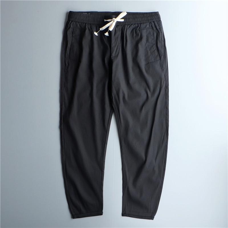 Брюки мужские с девятью точками, свободные штаны, Молодежные тонкие повседневные штаны черного цвета, универсальные, на лето