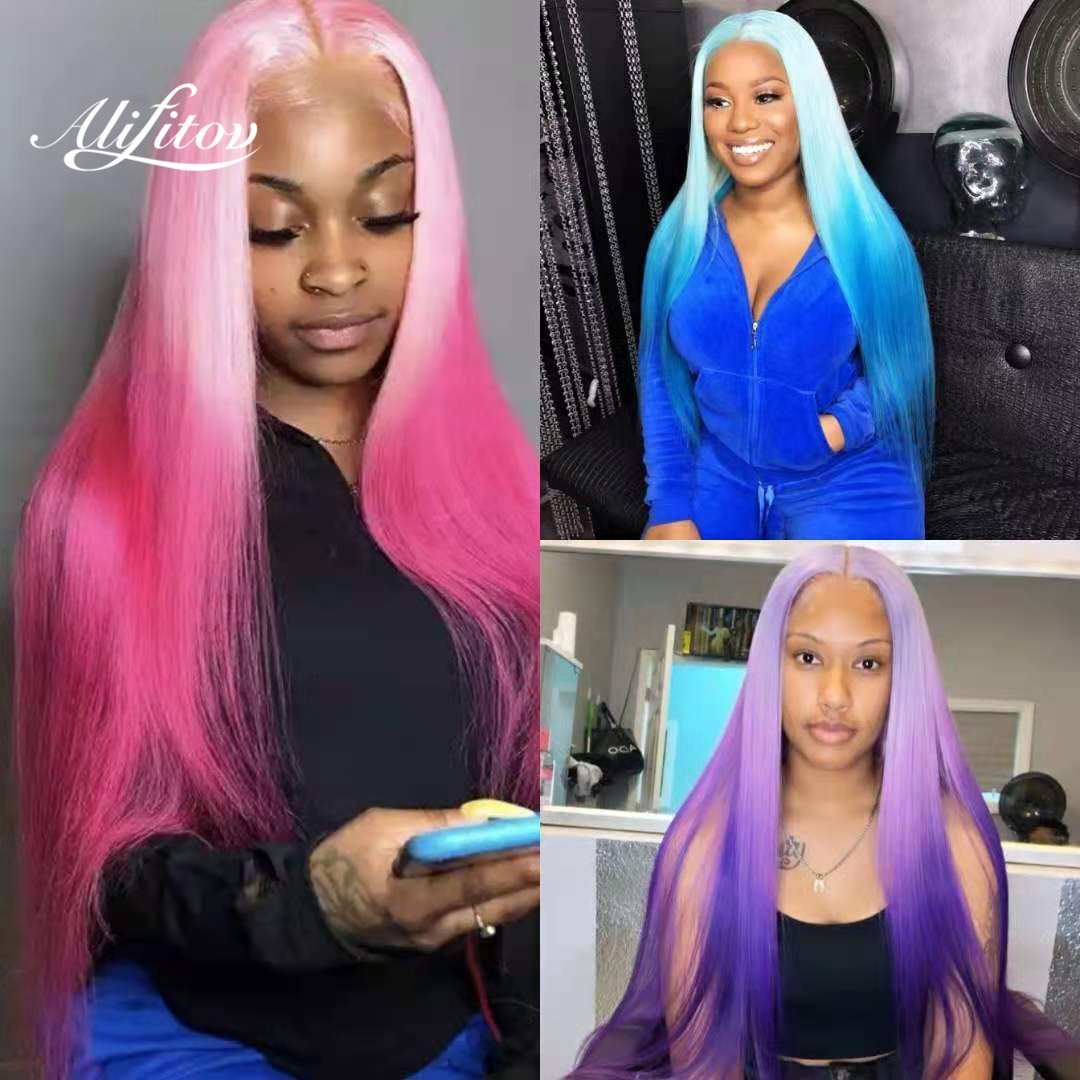 ALIFITOV Pink Ombre Lace Front Wigs Blue Straight Human Hair Wig With Natural Hairline Purple Pre-plucked Lace Front Wigs