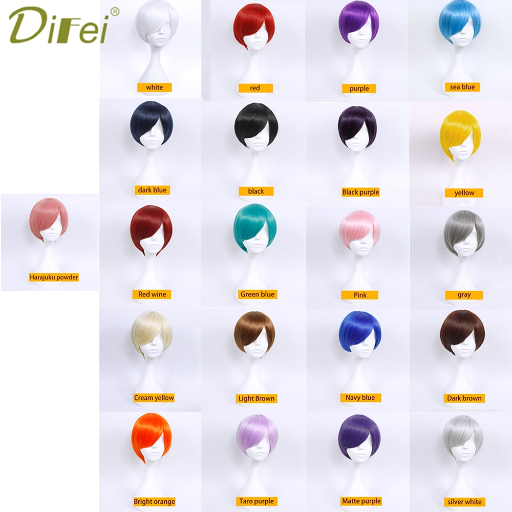 DEFEI 30CM Straight Short Hair Synthetic Color Wig MSN Face Close Wig Female Red White Blue Heat Resistant Cosplay Wig