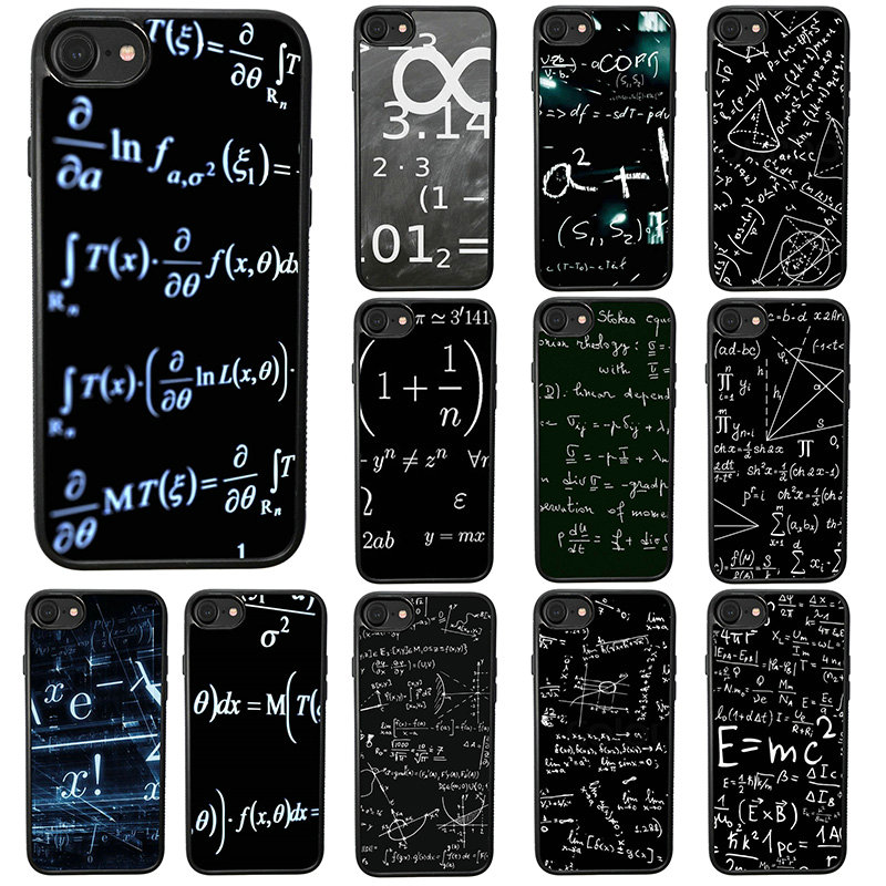 Carcasas para teléfono móvil con tipografía de ecuaciones matemáticas carcasa dura de TPU para iphone 8 7 6 6S Plus X XR XS 11 Pro Max 5S 5 SE 4 4S