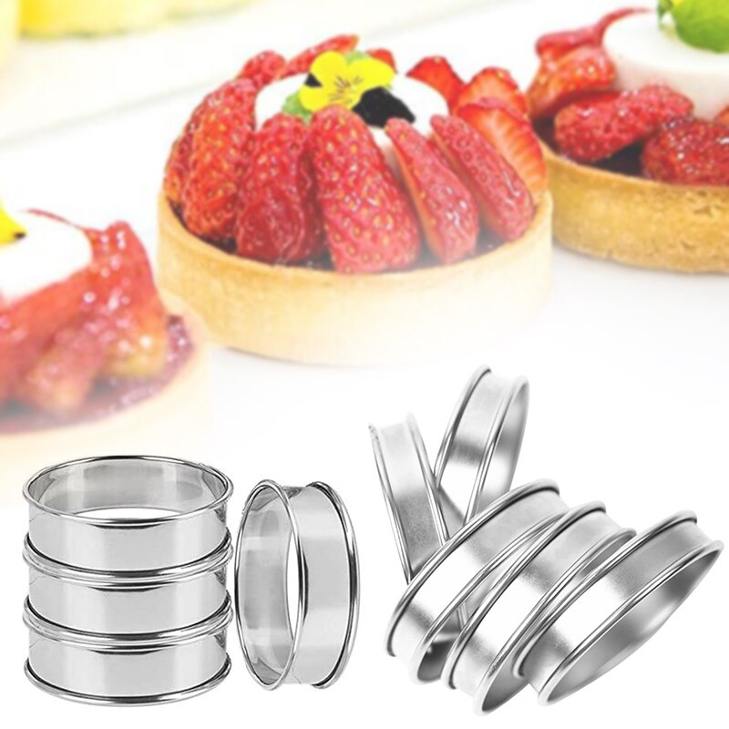 ¡Oferta! 4 Uds. Anillos de Muffin de acero inoxidable de doble laminado, anillos profesionales de Muffin NDS