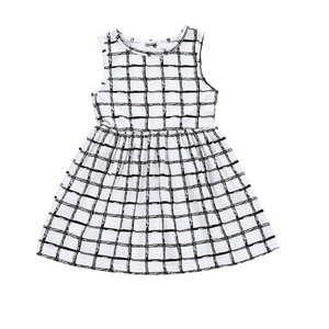 Dress Summer Style Little Girl White Plaid Princess Classic Black and White Geometric Foreigner Korean Version of The Trendy