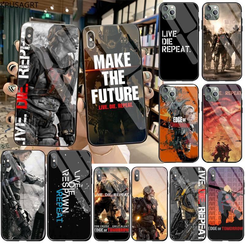 KPUSAGRT EN DIRECTO morir repetir suave negro teléfono caso de vidrio templado para iPhone 11 Pro XR XS MAX 8X7 6S 6 Plus SE caso De 2020