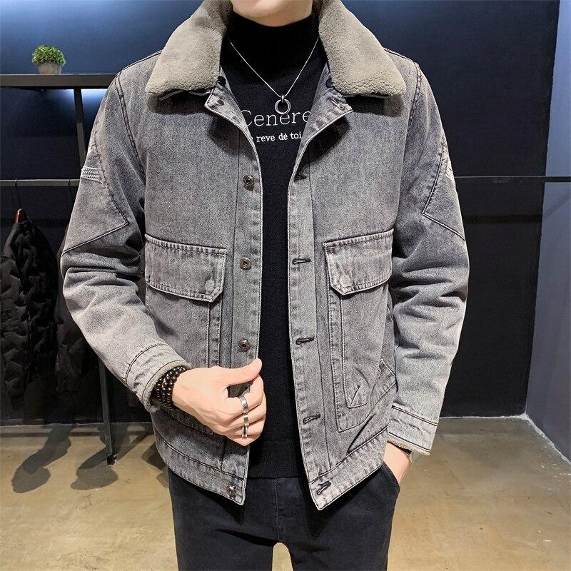 Men New Gray Denim Jacket Trendy Winter Warm Fleece Coats Mens Outwear Fashion Jean Jackets Male Cowboy Casual Clothes dimusi spring autumn mens denim jacket mens trendy fashion bomber thin ripped denim jacket male cowboy jeans jackets 4xl ta341