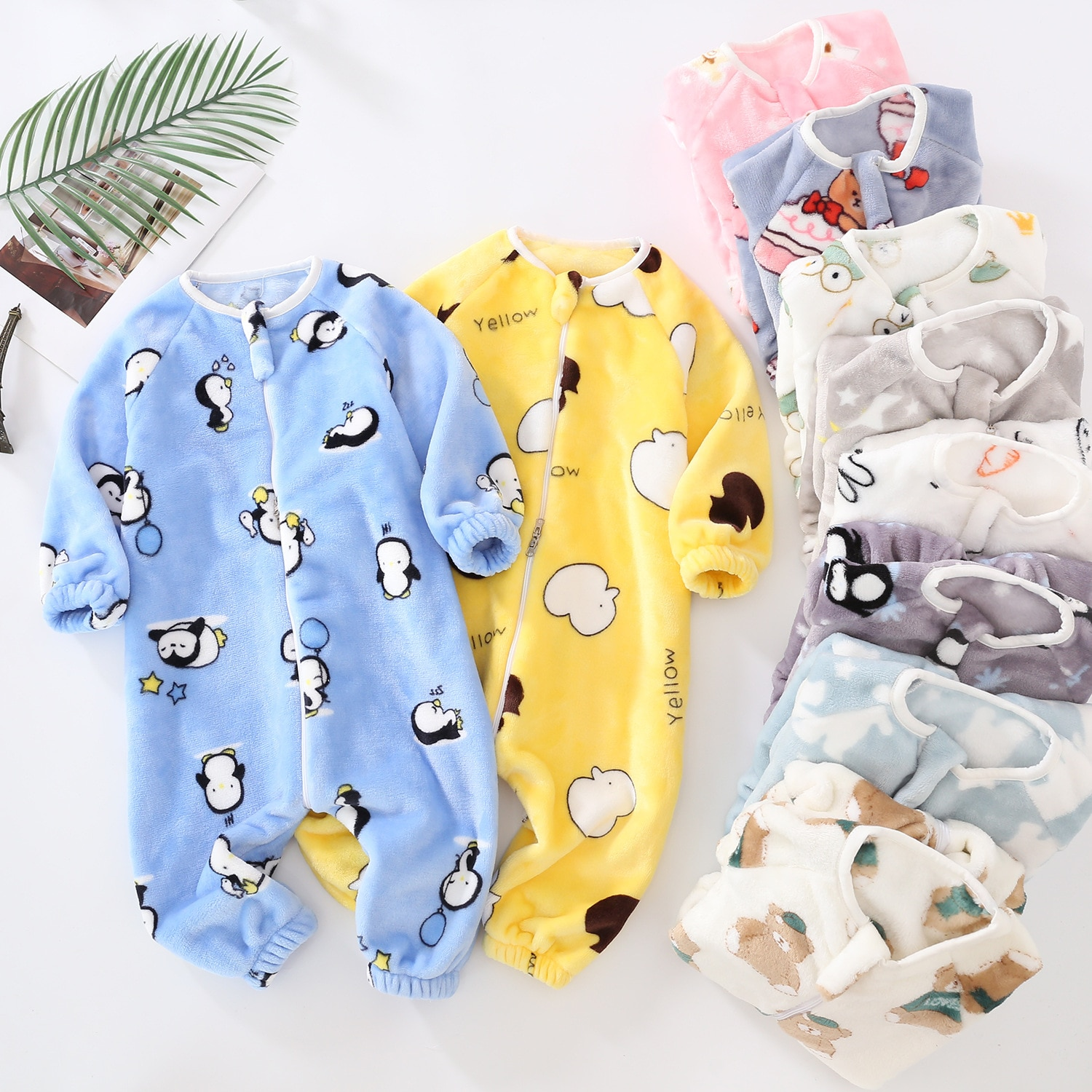 Spring, Autumn and Winter Children's One-piece Pajamas Baby Double-sided Flannel Flannel Romper Baby