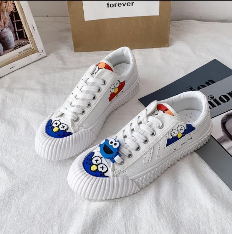 Moda graffiti zapatos de lona de las mujeres de la calle snap simple pequeños zapatos blancos ocasionales de la plataforma de la señora zapatillas de zapatillas