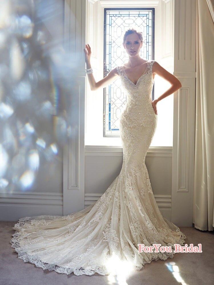 Vestido De novia De sirena blanco, sin espalda, con cola, largo hasta...