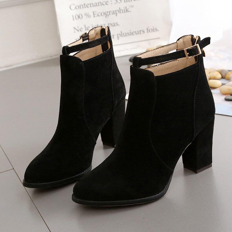 8.5cm de Espessura Mulheres Martin Botas Sapatos Rebanho Volta Zíper Apontou Toe Salto Alto Senhora Femininos Bombas Mais Tamanho