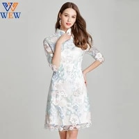 2021 autumn chinese style luxury summer new arrival sheath three quarter knee length large size elegant party lady dresses