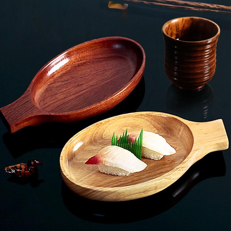 Japonés de madera bol de Kimchi de ensalada de madera postre tazón Simple hogar doble bandeja de vidrio de agua de cocina vajilla