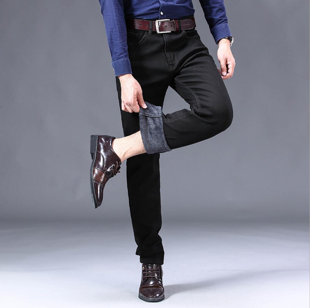 Pantalones vaqueros ajustados de otoño e invierno de color sólido de verano 2020 Pantalones rectos de otoño para hombre Pantalones elásticos QTX-2801-07