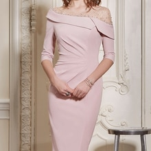 3/4 Sleeves Mother Of The Bride Dresses Sheath Knee Length Beaded Plus Size Short Groom Mother Dress