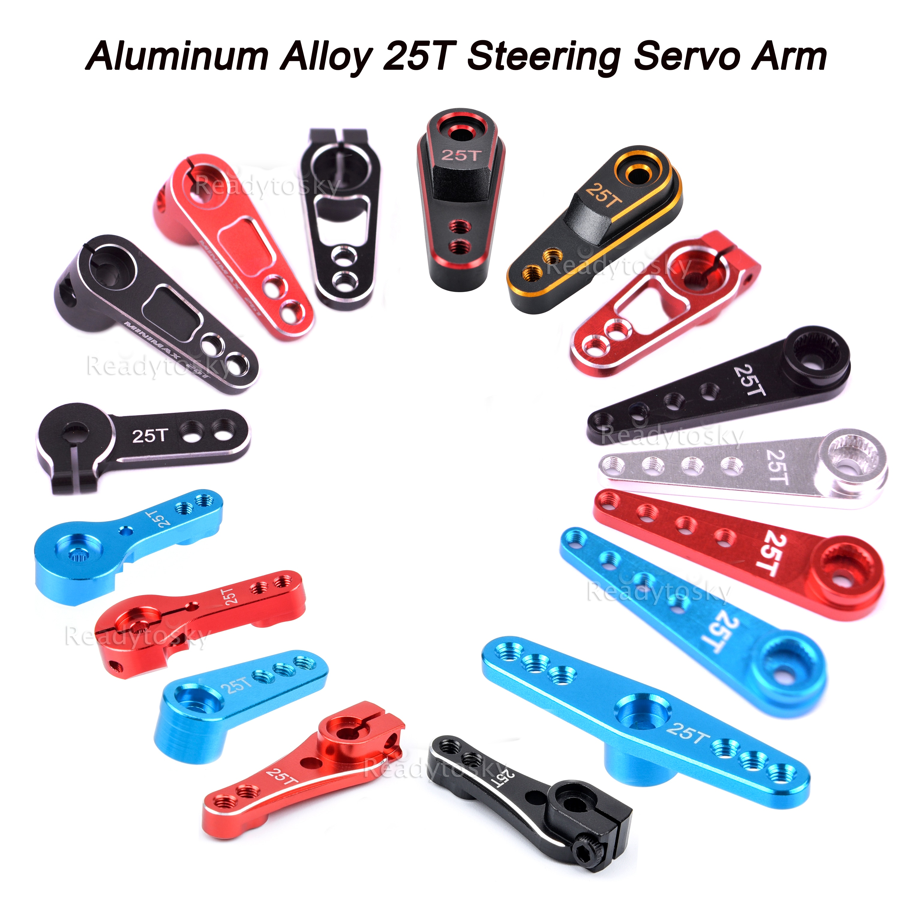 Aluminum Alloy 25T Steering Servo Arm Horn Black/Red/Blue Color for RC Car Crawler Large Torque Digi