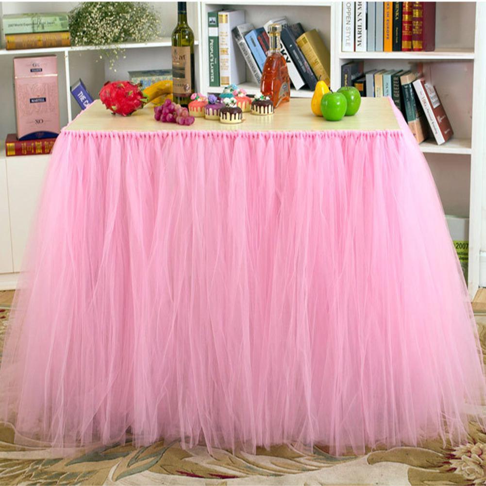 91,5x80cm falda de mesa de malla de Nylon Rosa decoración de mesa de fiesta de boda falda de mesa tutú envío gratis