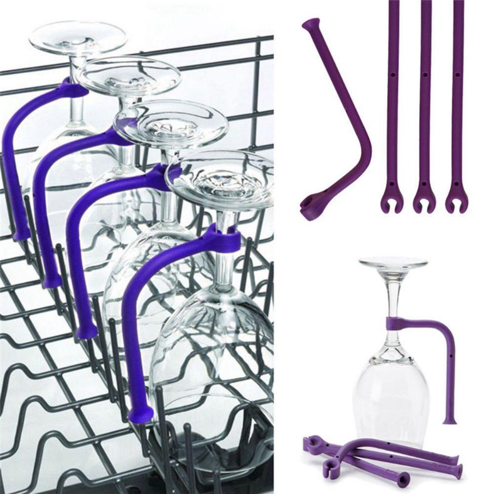 4 Uds soporte de silicona para copa de vino soporte de copa Flexible soporte ajustable para lavavajillas Barra de cocina herramienta titular Stemware Saver 2020