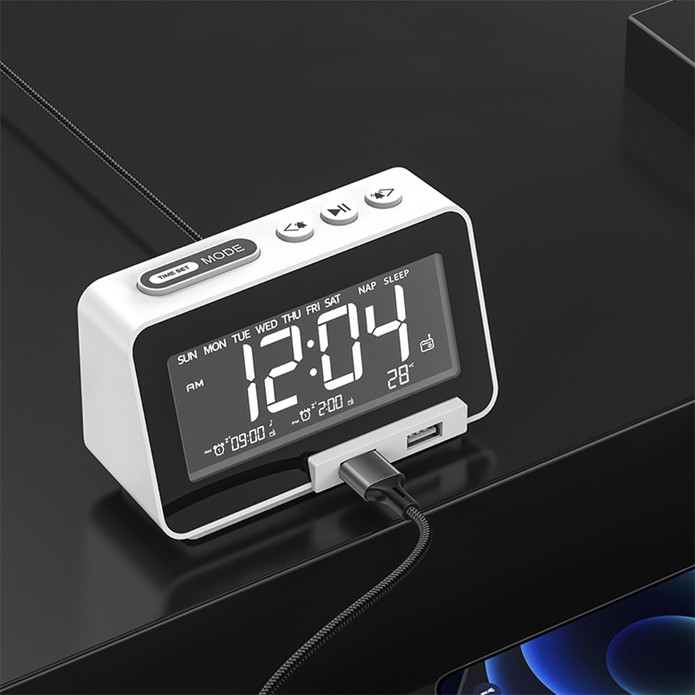3 in 1 Type-C Wireless Bluetooth-compatible Speaker LCD Display Alarm Clock Dual USB Ports Mobilephone Charger FM Radio Soundbox enlarge