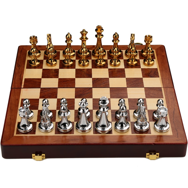 Metal And Wood Chess Set Large Handmade Collection Expensive Board Games For Adults Chess Set Folding Board Chess Set BG50CS