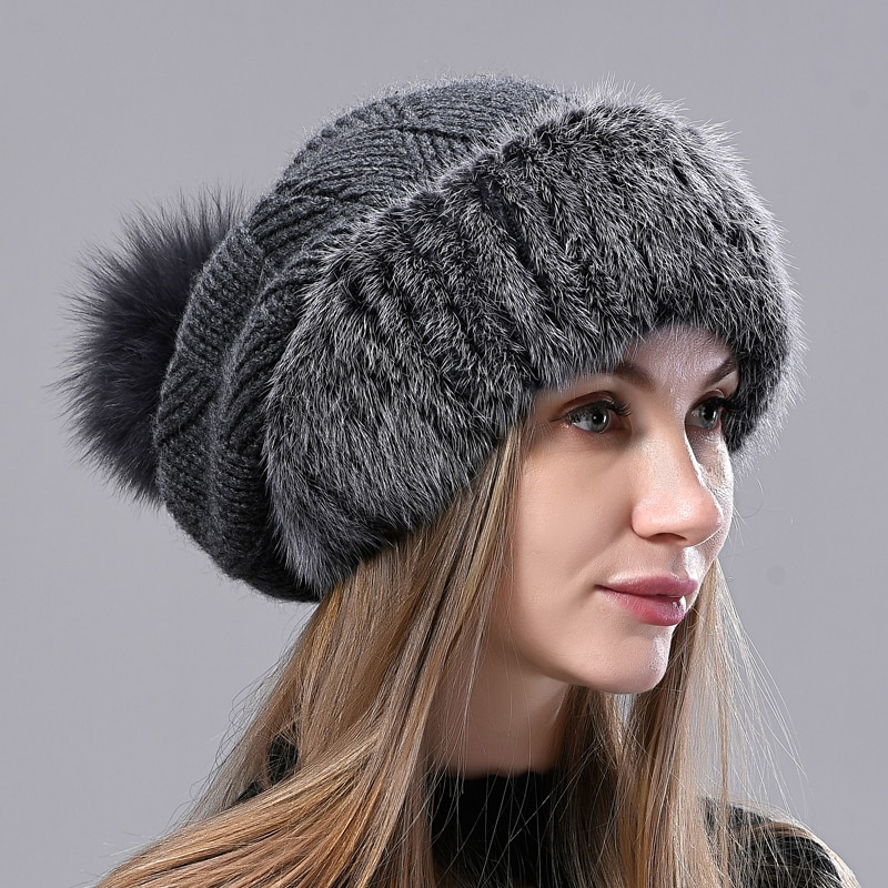 Fox Pompom Mink Fur Hat Winter Fall Warm Real Fur Hats for Women Knitted Beanie Caps Stylish Female