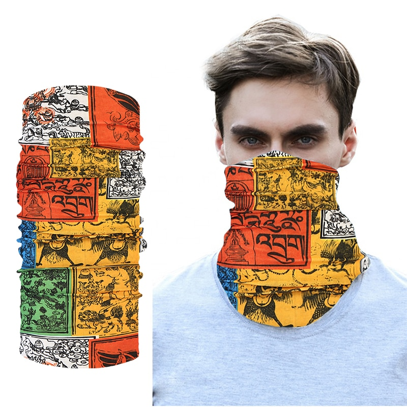 Vintage Skull Polyester Scarves Dust Outdoor Sports Neck Gaiter Bandana Scarf Camping Hiking Cycling