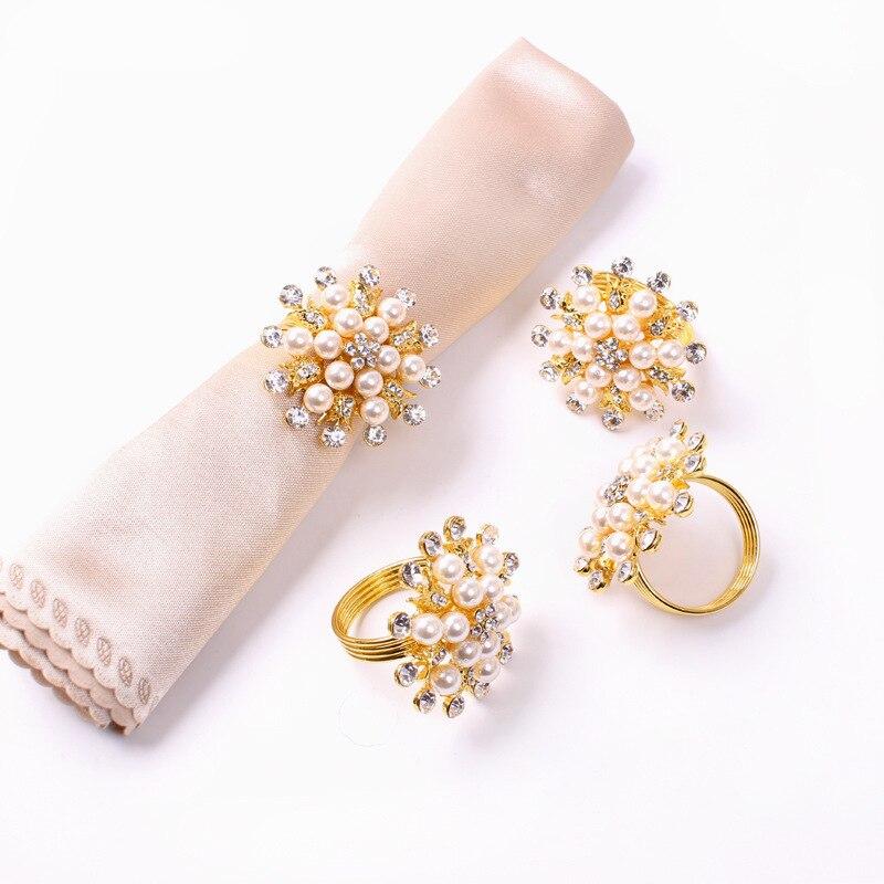 TAI Top 6 unids/set de diamantes de imitación de perlas de copo de nieve servilleta anillos Mesa decoración servilleta titular Metal hecho a mano Hotel para fiesta de boda suministros