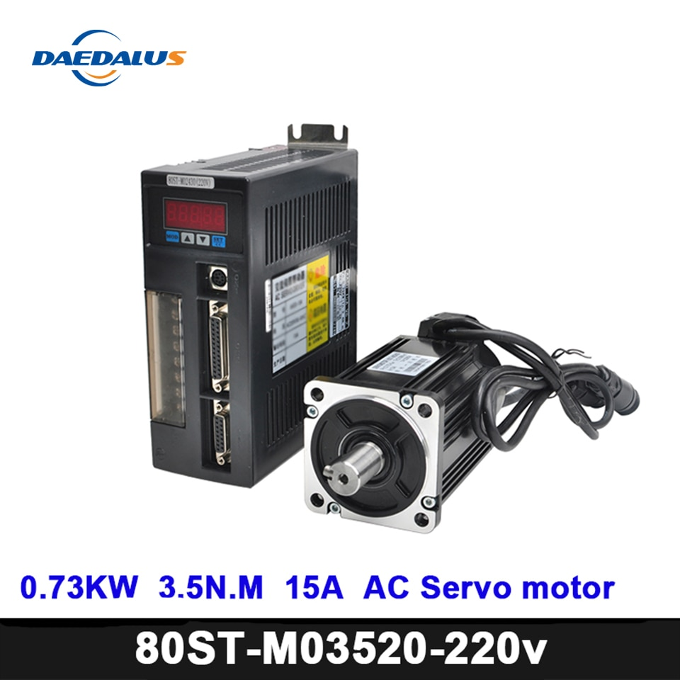 CNC 730W servomoteur Kits 1 ensemble/Servo 2000PRMAC moteur 80ST-M03520 moteur dentraînement 3.5N.M 15A CNC servomoteur pour fraiseuse à CNC