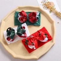 girls xmas bow headband fashion colorful newborn baby hairband green red christmas gifts infant toddler headband with ribbon