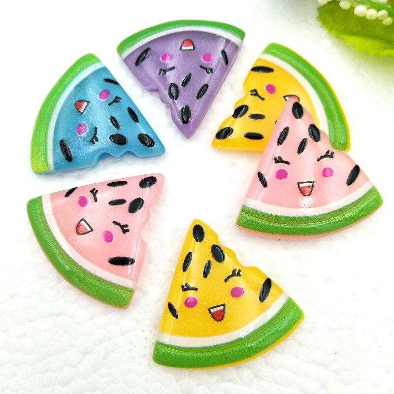 Nuevo patrón 10 Uds encantadora frutas sandía Flatback resina suministros de arte, de decoración encanto artesanal pelo Centro de Scrapbook