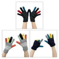 korean style adult student winter knitted full finger gloves funny cartoon expression multicolored thermal warm stretch mittens
